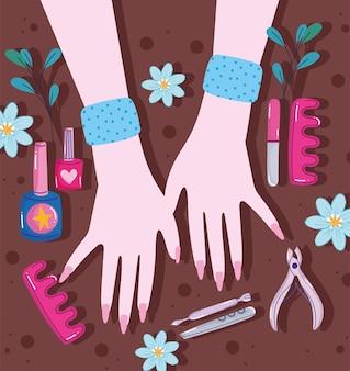 Mãos e ferramentas de manicure