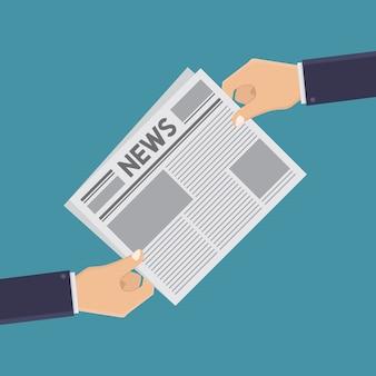 Mãos e jornais estilo de design plano de ilustração