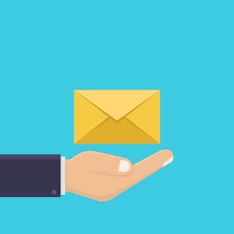 Mãos e letras, receber cartas, estilo de design plano de ilustração