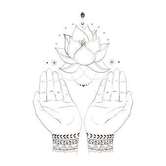 Mãos e lotos