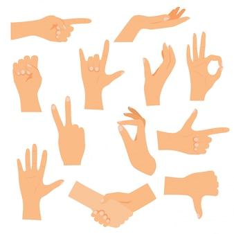Mãos em vários gestos. conceito de ilustração moderna.