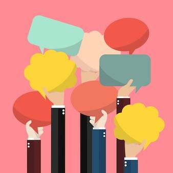 Mãos empresários, com, bolha, palavras