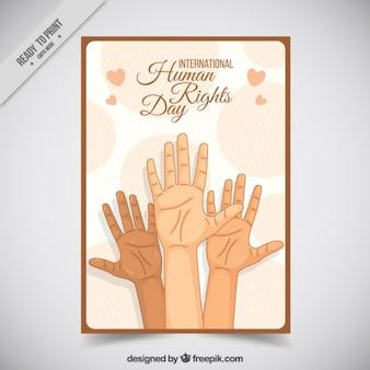 Mãos esboça os direitos humanos cartão do dia