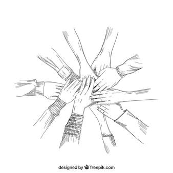 Mãos esboçadas trabalhando juntas
