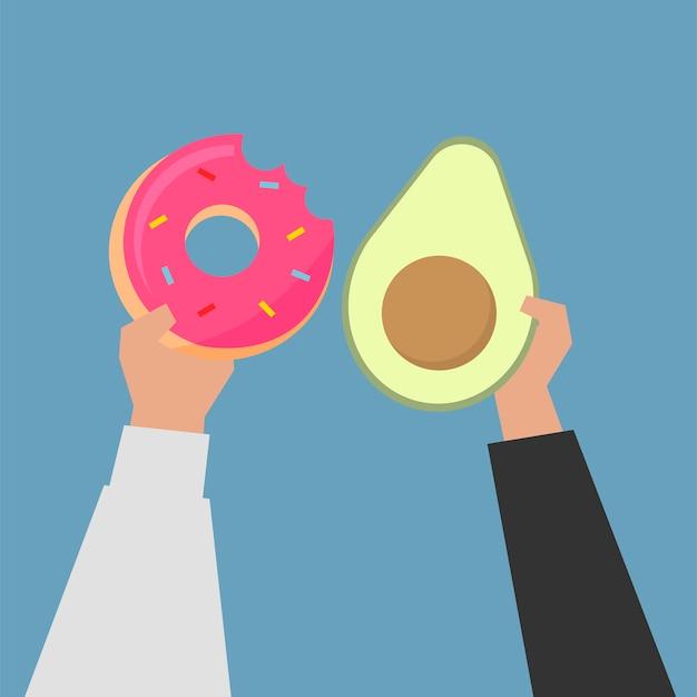 Mãos, escolher, alimento saudável, ilustração