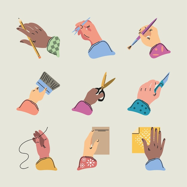Mãos fazendo faça você mesmo, costura, pintura, corte