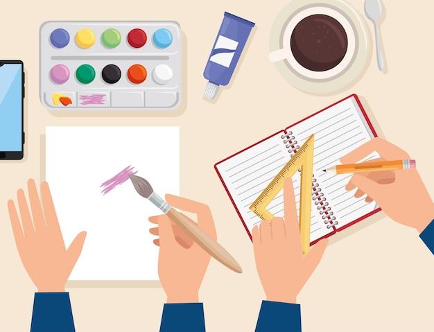 Mãos fazendo projeto de arte