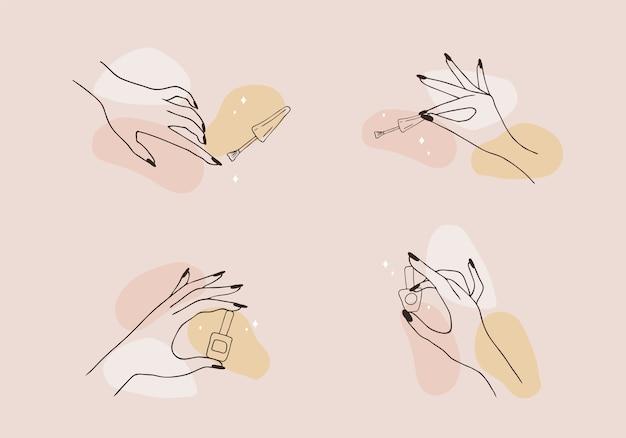 Mãos femininas bem cuidadas. senhora pintando, lustrando unhas. esmalte e lima de unha.