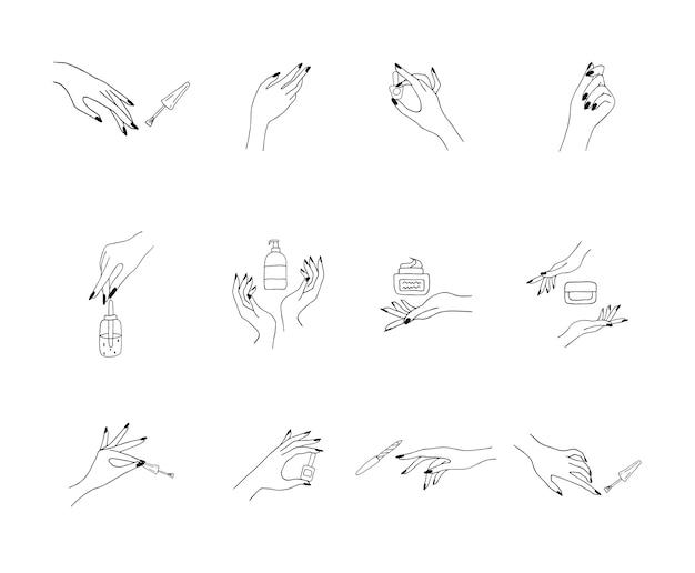 Mãos femininas bem cuidadas. senhora pintando, lustrando unhas.