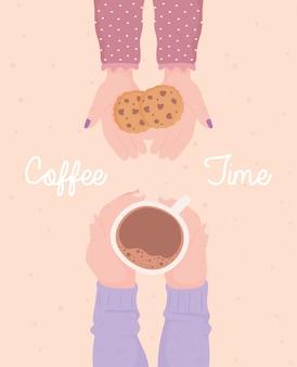 Mãos femininas e masculinas com uma xícara de café, ilustração da hora do café com bebida quente fresca
