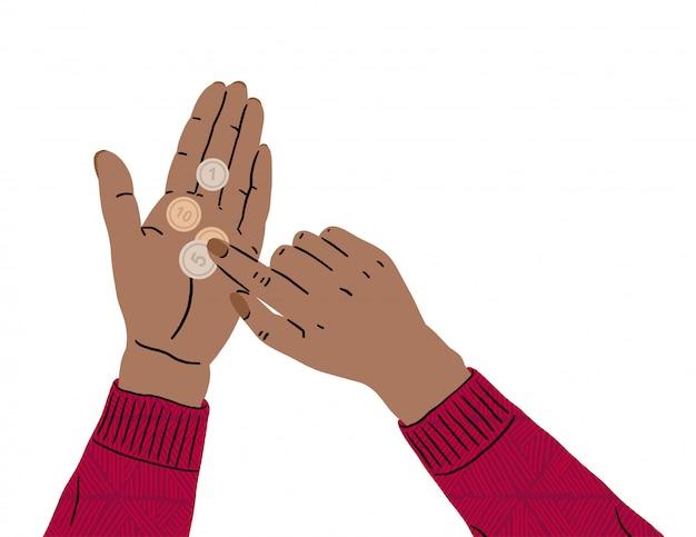 Mãos femininas estão segurando uma moeda. falta de dinheiro, crise econômica, pobreza. problemas com finanças devido a coronavírus. falência, ruína empresarial, desemprego