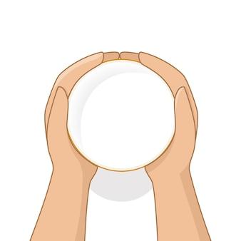Mãos femininas segurando um copo de leite na vista superior do estilo cartoon. ilustração vetorial