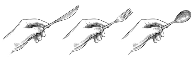 Mãos gravadas segurando um conjunto de talheres