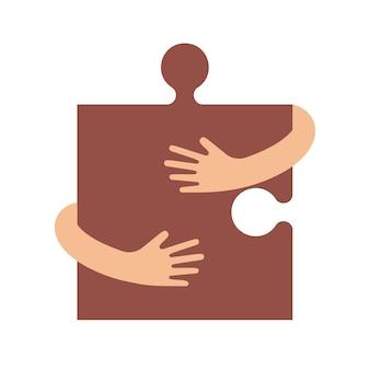 Mãos humanas abraçando ou segurando um sinal de quebra-cabeça ilustração plana