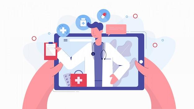 Mãos humanas dos desenhos animados, segurando o tablet conversando com ilustração on-line do médico