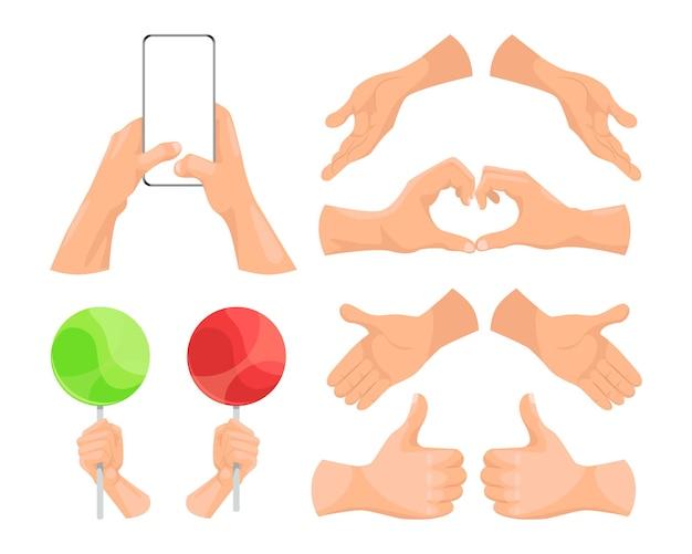 Mãos humanas mostrando diferentes gestos, segurando vários objetos nas mãos.