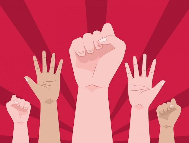 Mãos humanas para cima protestando cena