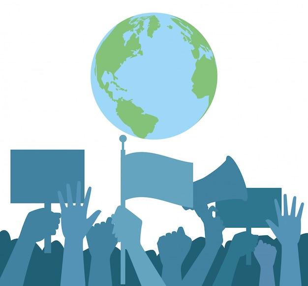 Mãos humanas protestando com megafone e planeta mundo