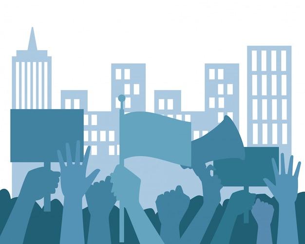 Mãos humanas protestando com placas e megafone
