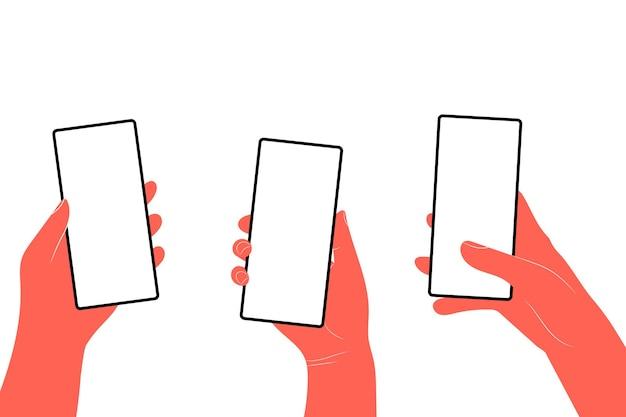 Mãos humanas seguram horizontalmente o telefone móvel com tela em branco. mão segurando telefones com simulação de telas vazias. ilustração em vetor plana, rolagem ou pesquisa.