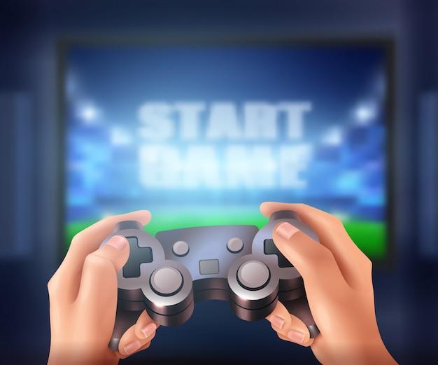 Mãos humanas segurando o controlador e iniciar o videogame na tela grande realista