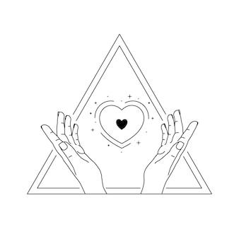 Mãos humanas segurando um coração. arte de linha desenhada de mão.
