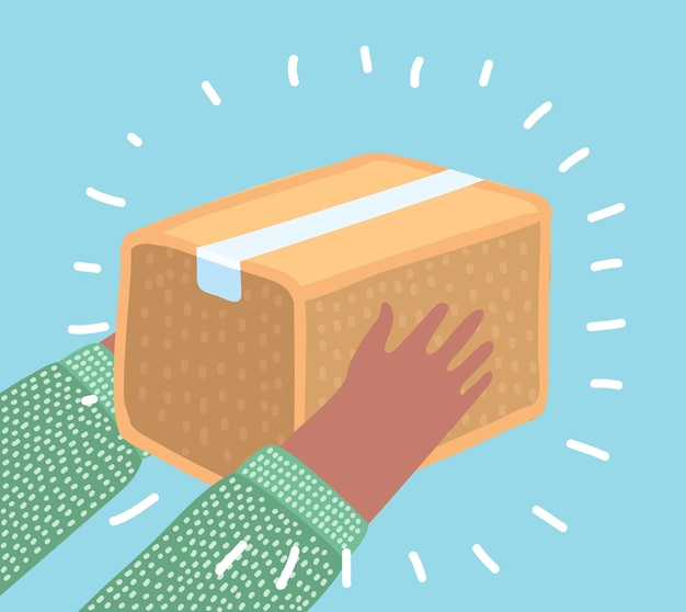 Mãos humanas segurando uma caixa de embalagem em fundo azul isolado