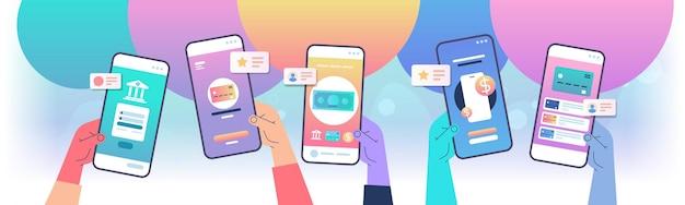 Mãos humanas usando aplicativo de banco móvel nas telas do smartphone loja da internet, loja online, compra na web ou pagamento seguro conceito de ilustração vetorial horizontal Vetor Premium