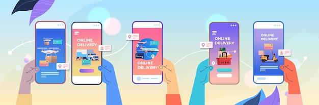 Mãos humanas usando aplicativo móvel para solicitar mercadorias serviço de entrega rápida compras on-line conceito de comércio eletrônico ilustração vetorial horizontal
