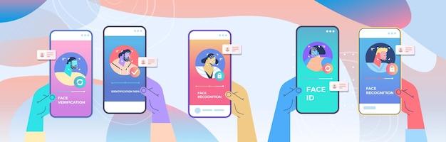 Mãos humanas usando aplicativo móvel verificação de identidade facial digitalização processo de reconhecimento facial acesso de identificação pessoal em telas de smartphone ilustração vetorial horizontal