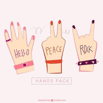 Mãos ilustração pacote