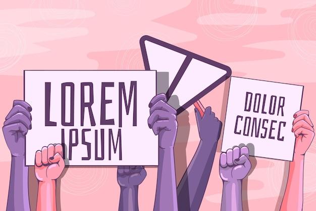 Mãos ilustradas com cartazes