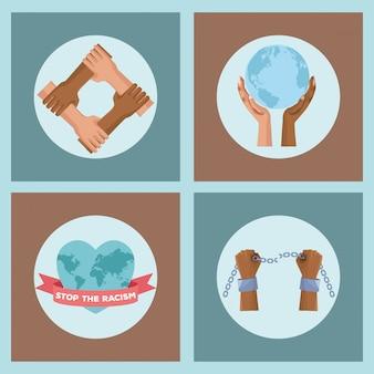 Mãos inter-raciais com planeta e algemas param campanha de racismo