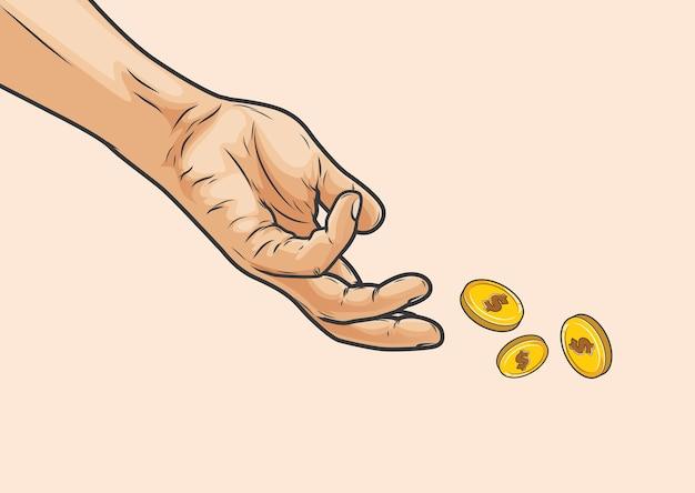 Mãos jogando dinheiro isolado em bege