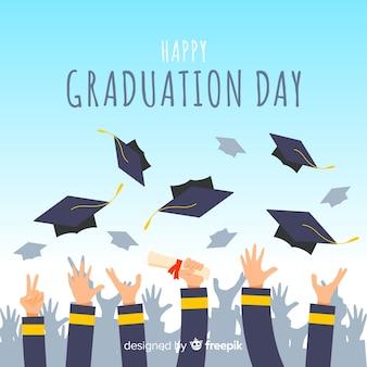 Mãos, jogar, chapéus graduação, ar