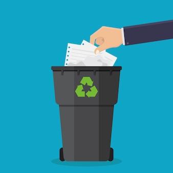 Mãos jogar lixo de papel em latas de lixo vector illustration