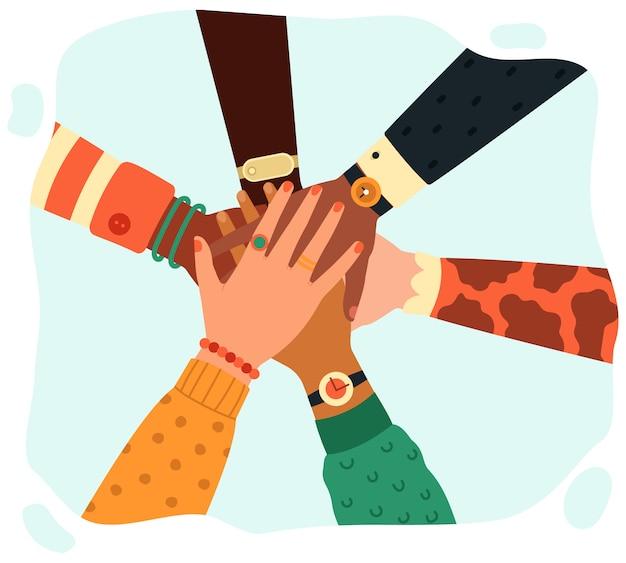 Mãos juntos. grupo de pessoas colocando as mãos em equipe, parceria, trabalho em equipe, unidade e ilustração do conceito de amizade. mãos juntas parceria, sucesso no trabalho