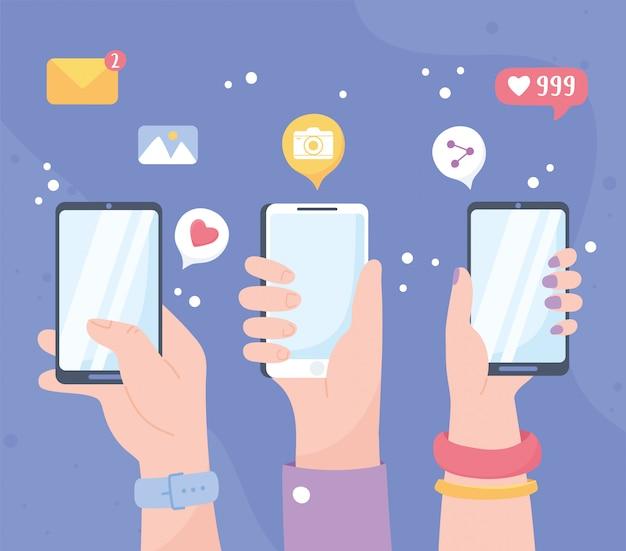 Mãos levantadas com compartilhamento móvel, como follow chat, sistema de comunicação de rede social e tecnologias