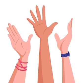 Mãos levantadas de jovens. conceito de unidade e trabalho em equipe. sucesso corporativo ou ilustração de resultado de boa cooperação.