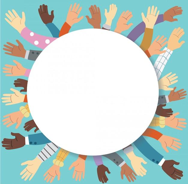Mãos levantadas de voluntariado