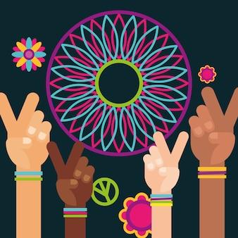 Mãos levantadas paz e amor espírito livre de apanhador de sonhos