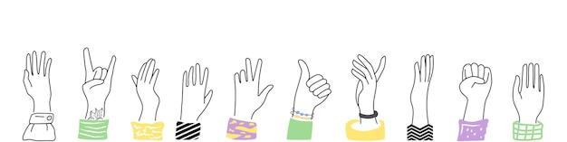 Mãos levantadas, vários gestos