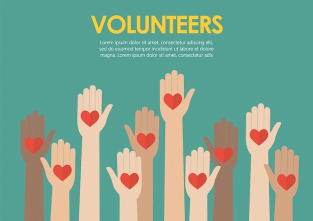 Mãos levantadas voluntários conceito