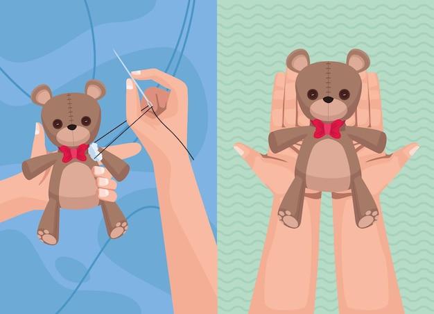 Mãos levantando ursos de pelúcia