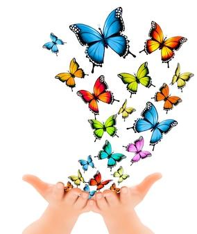 Mãos liberando borboletas. ilustração vetorial
