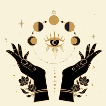 Mãos mágicas com fases da lua símbolos abstratosotéricos, estrelas e flores