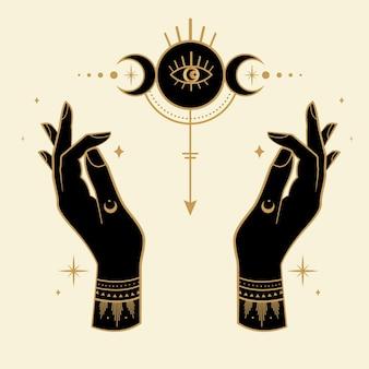 Mãos mágicas com símbolos esotéricos e lua