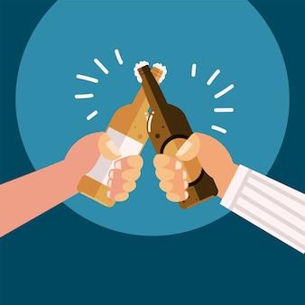 Mãos masculinas com celebração de bebidas alcoólicas de garrafas de cerveja, ilustração de elogios