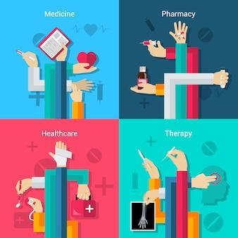 Mãos médicas conjunto plano