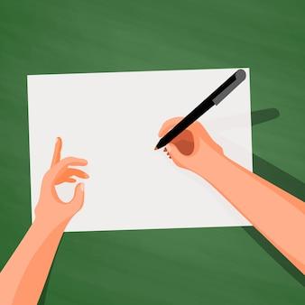 Mãos, mesa, escrita, folha, papel